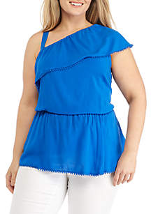 Plus Size One-Shoulder Ruffle Top