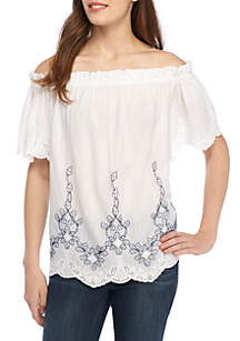Off-the-Shoulder Embroidered Short Sleeve Top