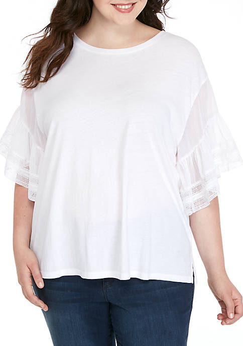 Kaari Blue™ Plus Size Woven Sleeve Knit Tee