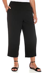 Plus Size Crepe Wide Leg Crop Pants