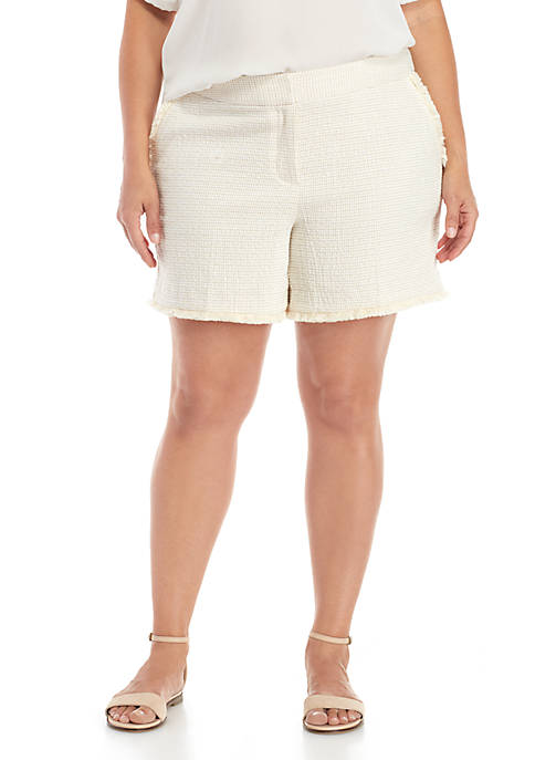 Kaari Blue™ Plus Size Fringe Trim Shorts