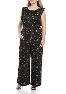 Plus Size Ruffle Sleeve Jumpsuit