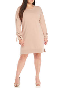 Plus Size Long Tie Sleeve Sweater Dress