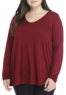 Plus Size V-Neck High Low Tunic