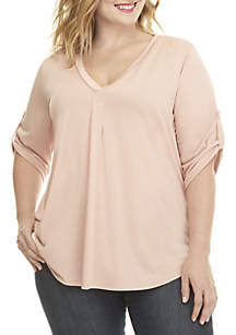 Plus Size 3/4 Roll-Tab Sleeve V-Neck Top