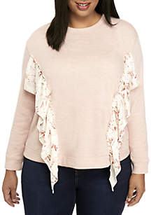 Plus Size Sweater with Ruffle Details