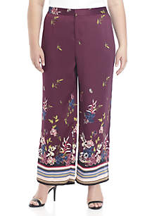 Plus Size Floral Soft Pants