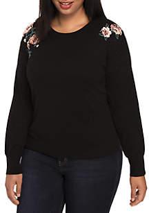 Plus Size Embellished Long Sleeve Sweater