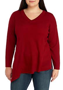 Plus Size Mix Rib Asymmetrical Tunic