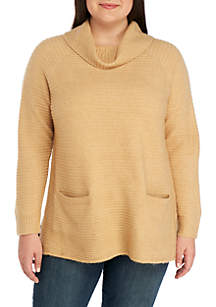 Plus Size Cowl Neck Sweater With Pockets