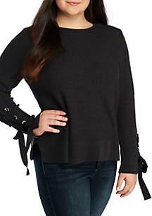 Plus Size Mix Stitch Crew Neck Sweater
