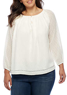 Plus Size Long Sleeve Woven Top