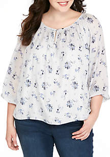 Plus Size Printed Woven Top