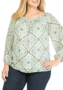 Plus Size Woven Printed Top