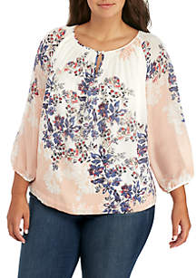 Plus Size 3/4 Sleeve Printed Woven Top