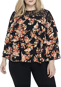 Plus Size Long Sleeve Tiered Top