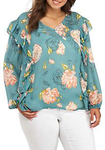 Plus Size Long Sleeve Asymmetric V-Neck Top