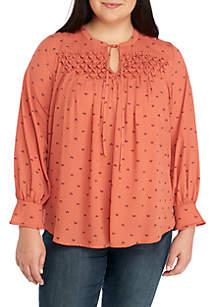 Plus Size Long Sleeve Smock Yoke Top