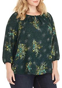 Kaari Blue™ Plus Size Long Sleeve Woven Peasant Top