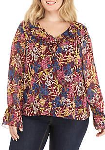 Kaari Blue™ Plus Size Long Sleeve Flounce Neck Top