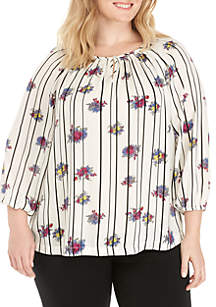 Plus Size Long Sleeve Woven Peasant Top