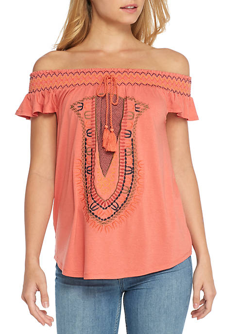 La Mamba Embroidered Tassel Smocked Off-The-Shoulder Top