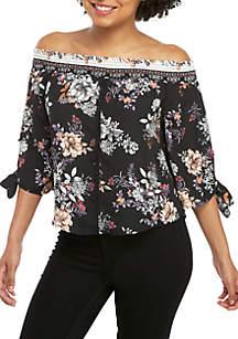 PARC & LEX Off the Shoulder Smocked Floral Top