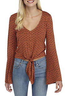 Long Sleeve V-Neck Button Tie Front Printed Top
