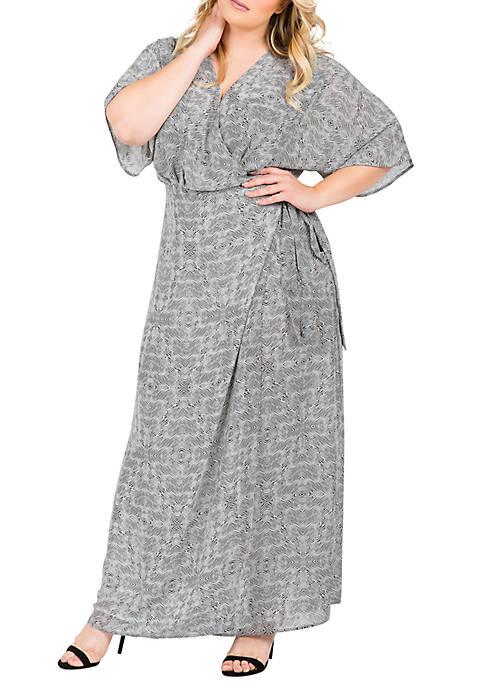 Plus Size Olivia Kimono Sleeve Maxi Dress