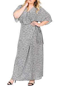 Standards and Practices Plus Size Olivia Kimono Sleeve Maxi Dress