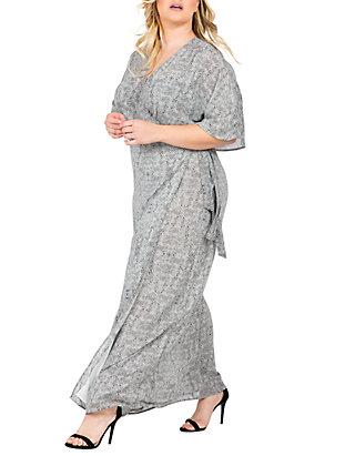 ed3ba41aaaa ... Standards and Practices Plus Size Olivia Kimono Sleeve Maxi Dress ...