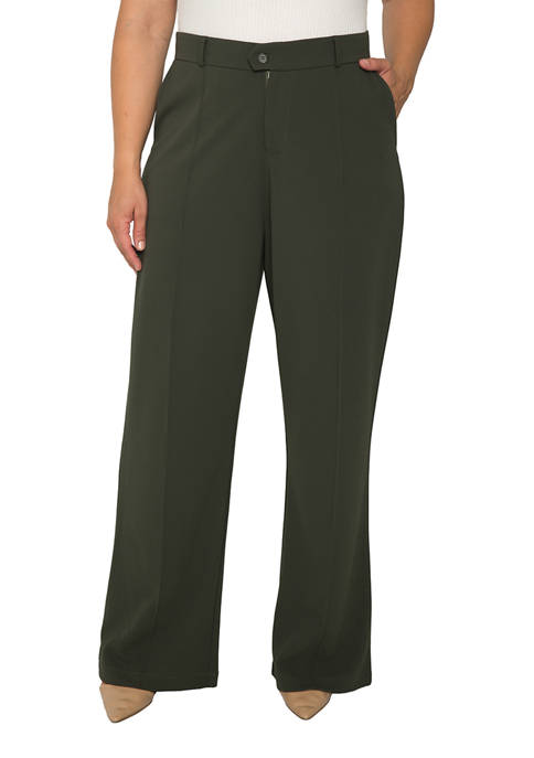 Plus Size Erica Pintuck Stretch Crepe Wide Leg Trousers