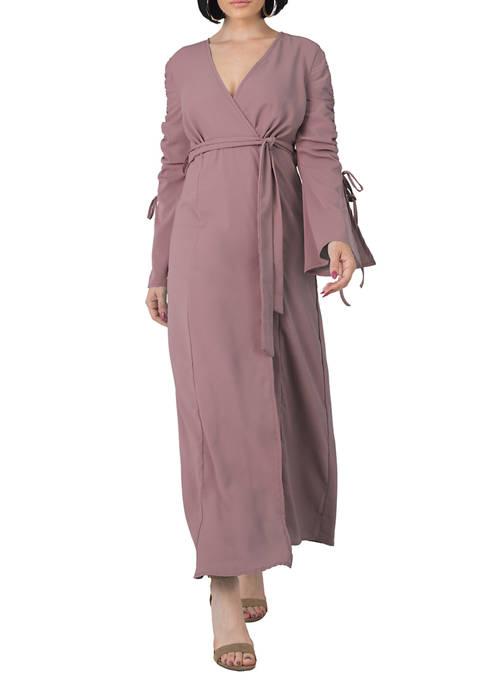 Womens Violeta Ruched Sleeves Wrap Maxi Dress