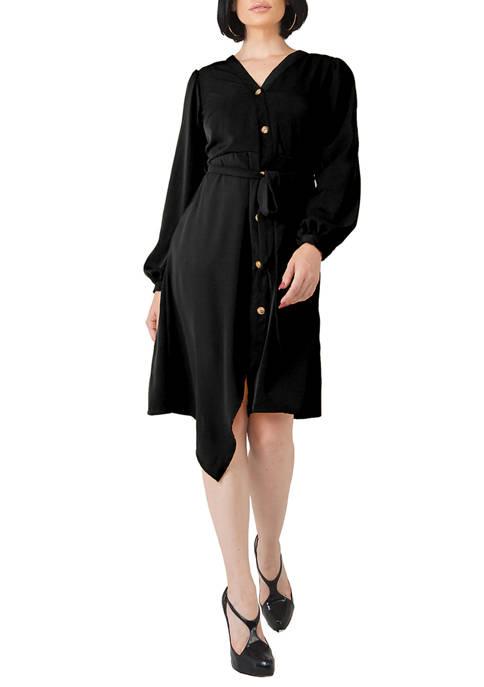 Womens Natalia Button Up Wrap Lantern Sleeve Dress