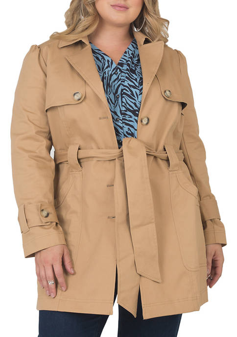 Plus Size Twill Trench Coat
