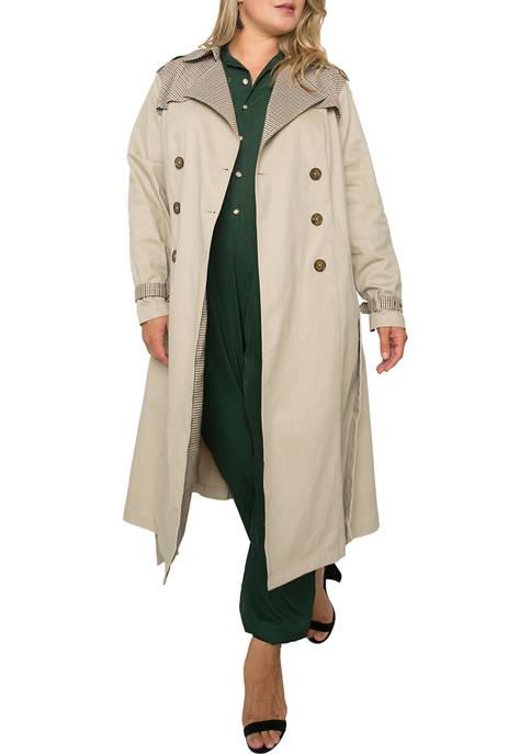 Plus Size Candice Mixed Media Trench Coat