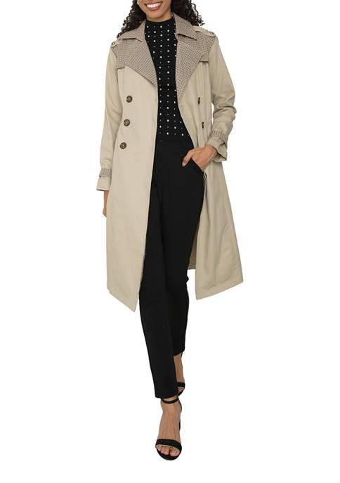 Womens Candice Mixed Media Trench Coat