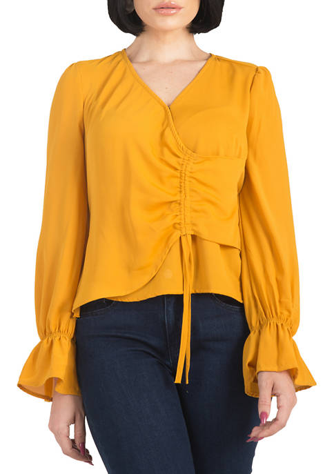 Womens Vera Tie Front Flute Sleeve Blouse