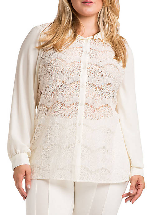 Plus Size Coco Lace Collared Shirt