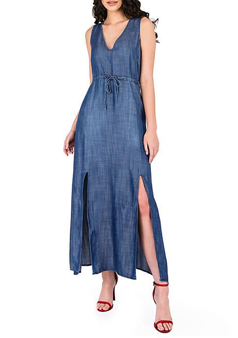 Amber Sleeveless Draw Waist V Neck Dress