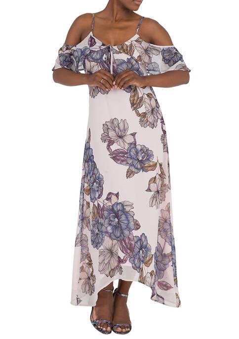 Womens Matilda Cold Shoulder Ruffled Handkerchief Dress