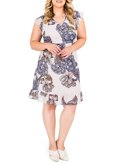 Standards and Practices Plus Size Dion Printed Dress