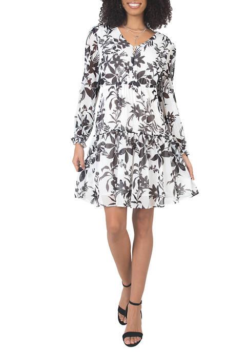 Womens Printed Prairie Tiered Dress