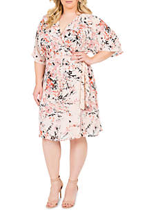 Standards and Practices Plus Size Candice Wrap Knee Dress
