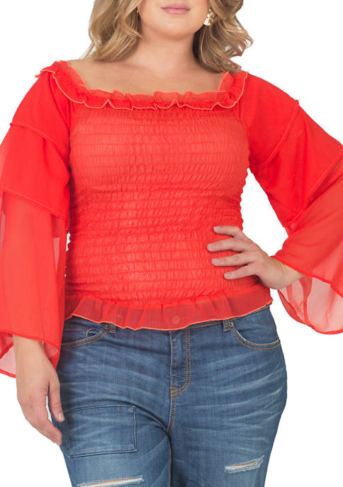 Standards and Practices Plus Size Smocked Ruffle Sleeve