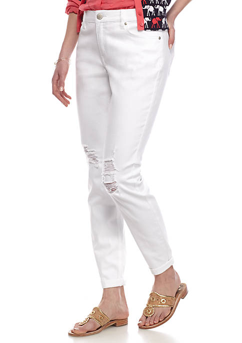 Crown & Ivy™ Destructed Straight Leg Jeans