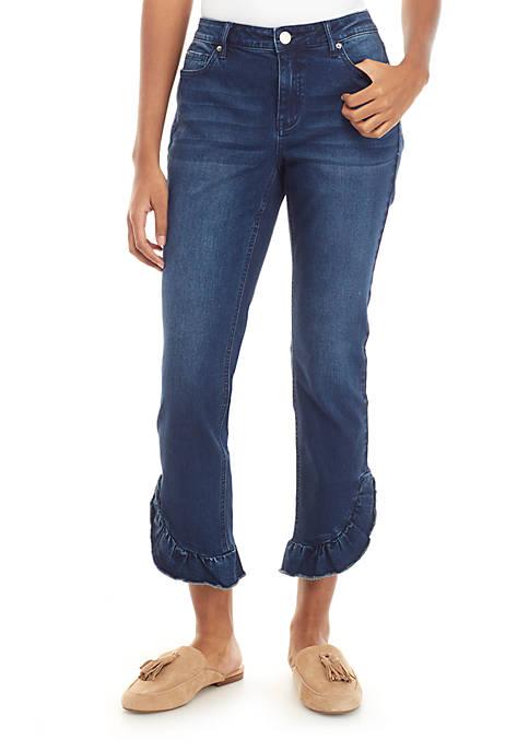 Ruffle Hem Skinny Jeans