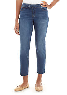 Crown & Ivy™ Tie Front Cropped Jeans