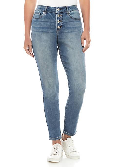 Crown & Ivy™ ZCO Button Front Denim Jeans