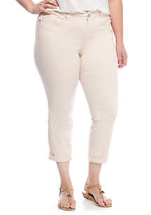 Plus Size Colored Cropped Denim Jeans